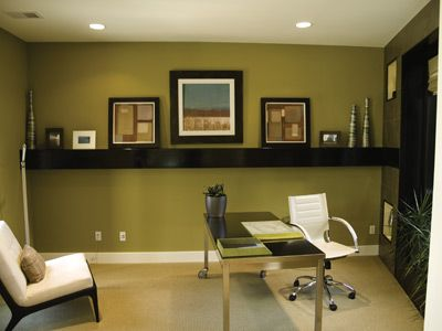 create a healthy home office | wall colors, green office and