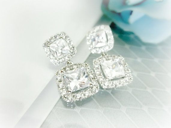 LUX CZ Square Cushion Cut Earrings Clear by AliChristineBridal, $45.00