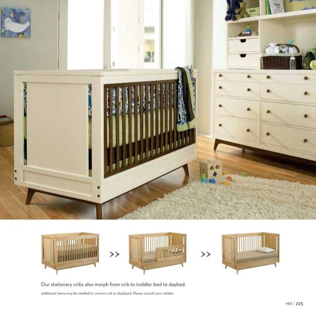 Young America Mix Two Tone Stationary Crib Kids Room Furniture Baby Furniture Cribs
