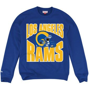 cheap for discount 77d0c 62635 Mitchell & Ness Los Angeles Rams Blue Crew Pullover ...