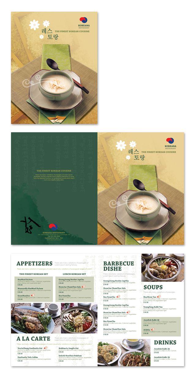 Korean Restaurant Menu Template  Do It Yourself