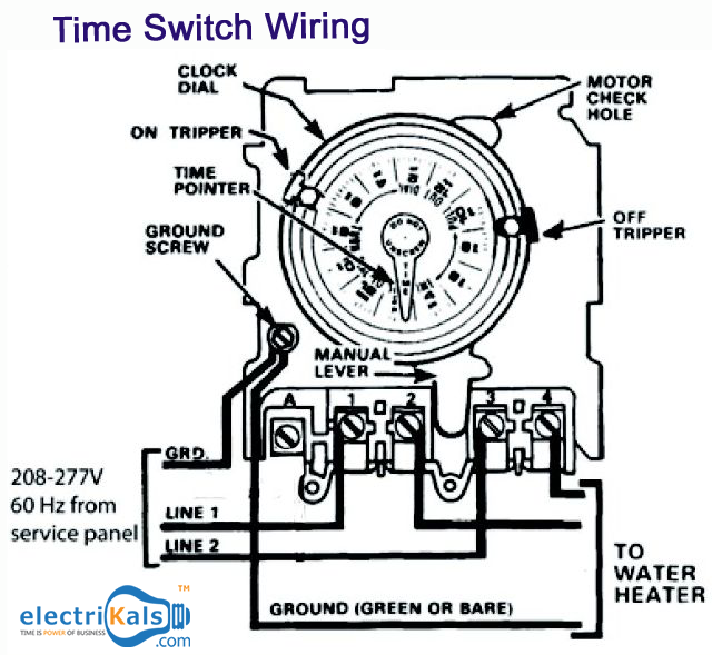 wiring diagram of an water heater with time switch electrikals rh pinterest com Toggle Switch Wiring Diagram Light Switch Diagram