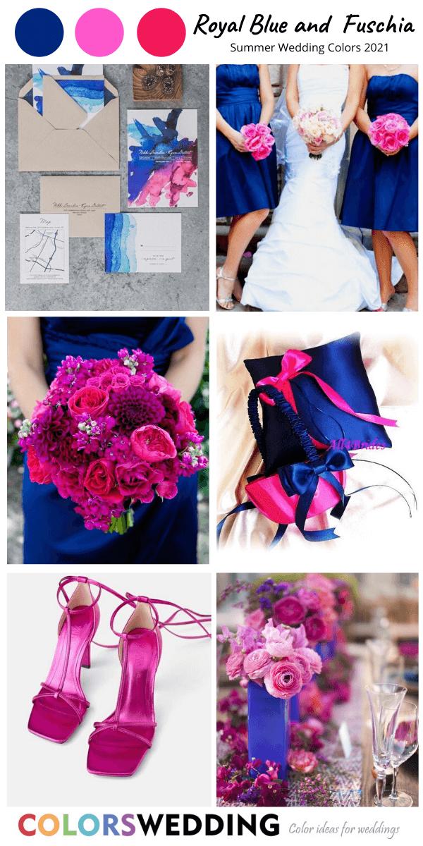 Royal Blue+ Fuschia Wedding royal blue dresses with