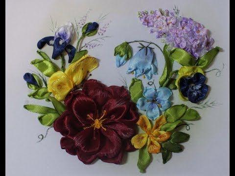 Вышивка лентами для начинающих шаг за шагом 1часть Embroidery ribbons for beginners Part 1 刺绣带,对于初学者 - YouTube