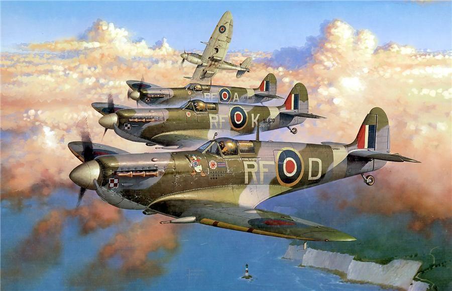 WW2 RAF Lancaster Spitfire  A3 ART
