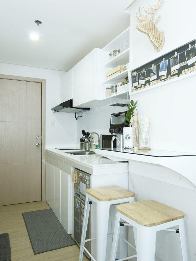 An All White 20sqm Studio Unit In Quezon City With Images Small Condo Kitchen Condo Interior Design Small Condominium Interior Design