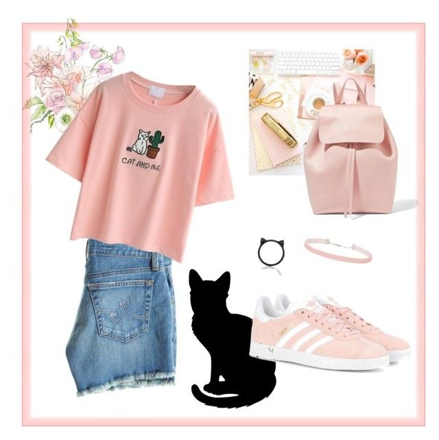 """""""Soft kitten"""" by thechouquette on Polyvore featuring mode, AG Adriano Goldschmied, Kate Spade, WithChic, adidas Originals, Miss Selfridge et Mansur Gavriel"""