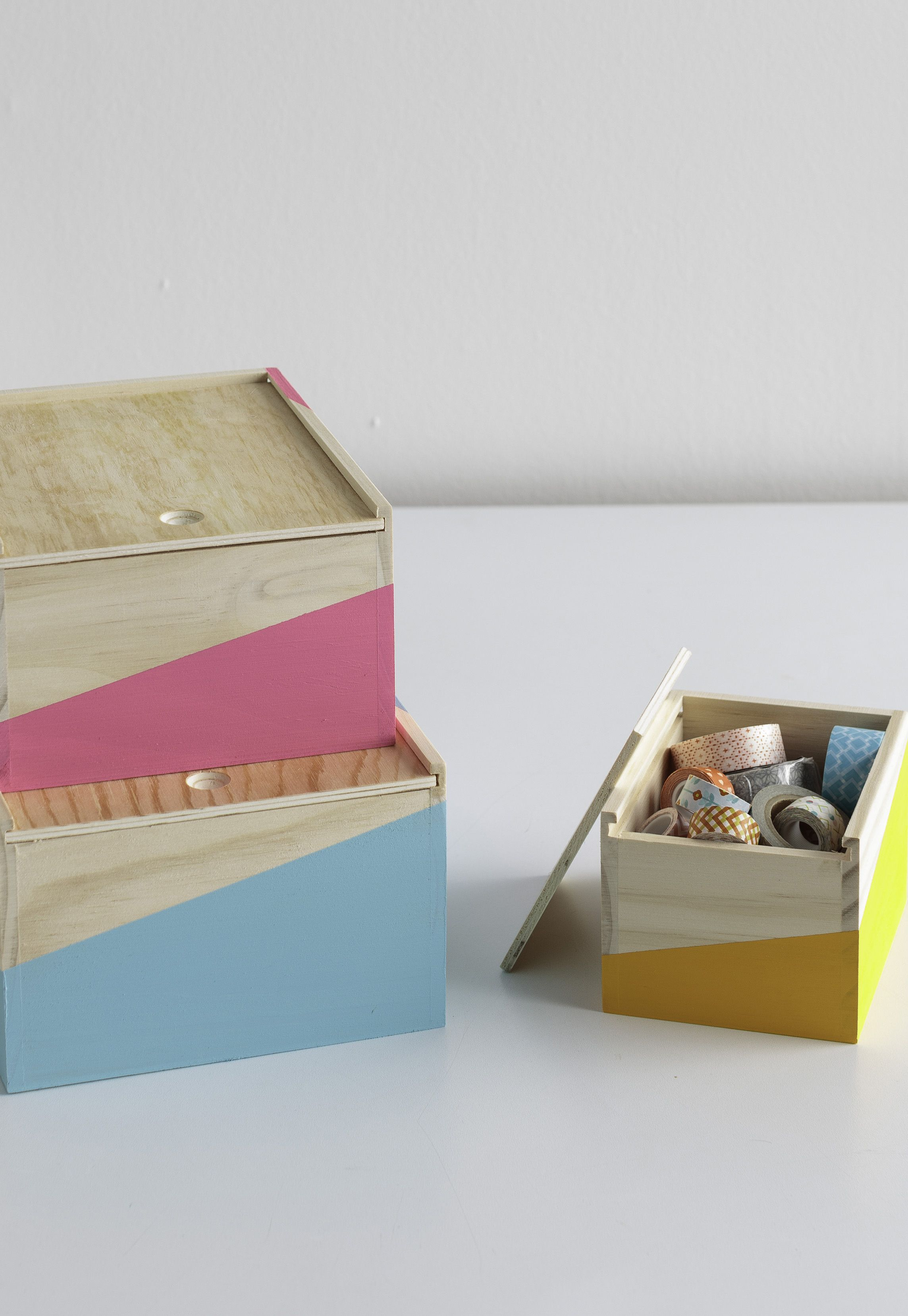 Don't just hide the clutter! Organize odds and ends into DIY painted wooden boxes using Martha Stewart Crafts from @michaelsstores.