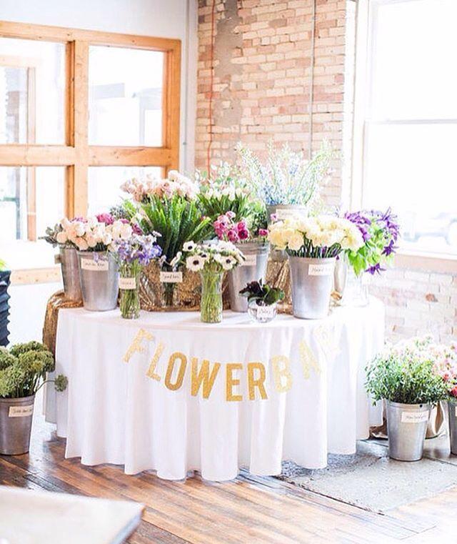 Cute Shower Idea. Flower Bar. #bridal #shower #bar