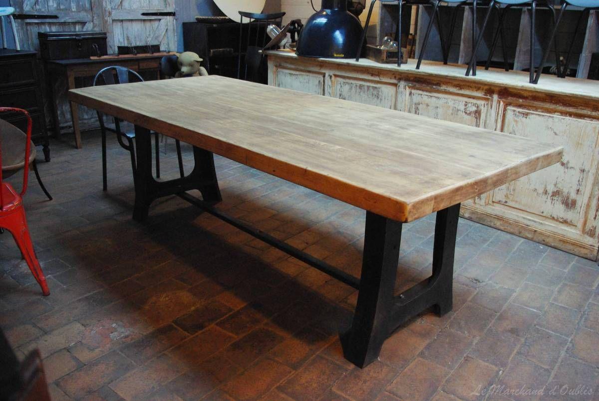 Table Industrielle Metal Bois