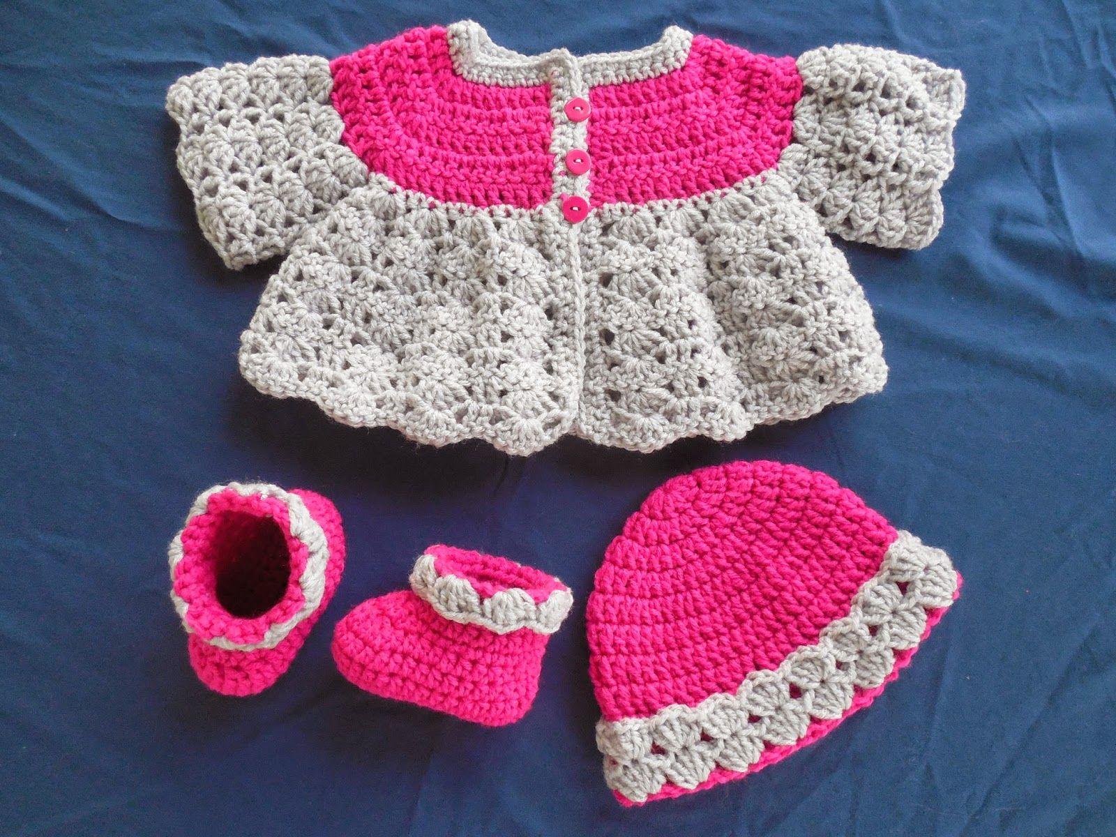 Britteny off the hook baby girls fancy shell sweater set 16 beautiful handmade baby gift sets with free crochet patternsdress bankloansurffo Choice Image