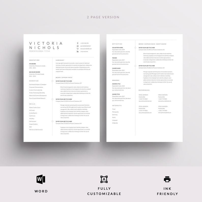 Modern Resume Template, CV Template + Cover Letter