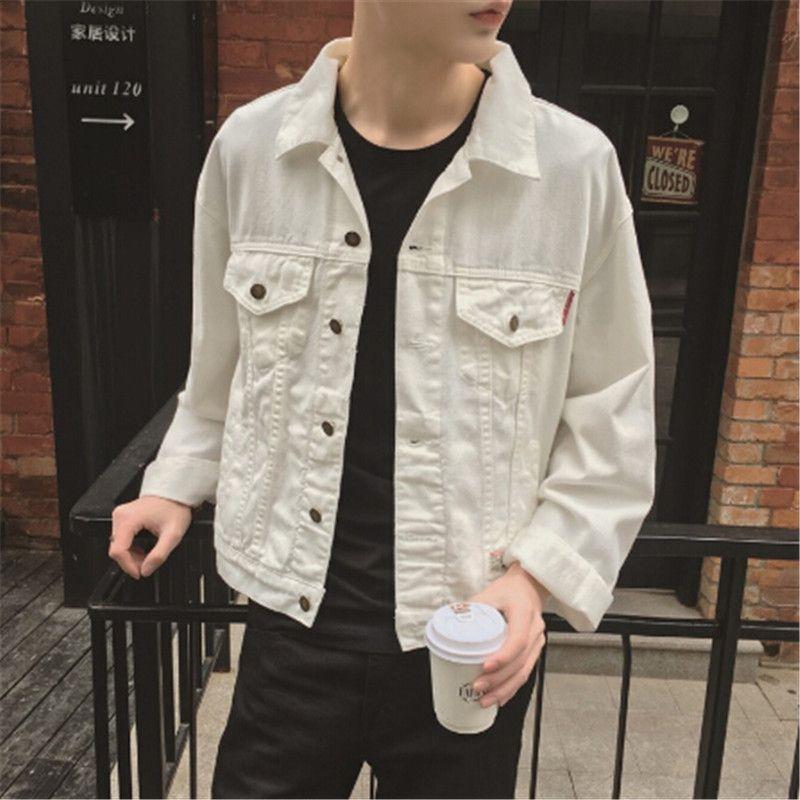 2017 New White Denim Jacket Men Korean Fashion Mens White Jean Jackets With Flap Pockets At Chest Male Af White Jeans Men White Jean Jacket Denim Jacket Men
