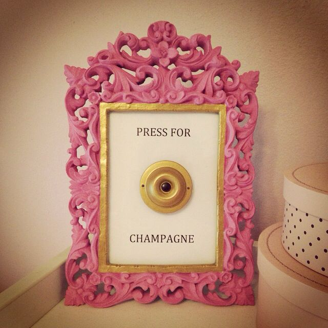 Diy Press For Champagne Frame Or Hang On A Wall Painted The Frame And Hot Glued The Doorbell To The Glass W An Upside Dow Doorbell Champagne Pink And Gold