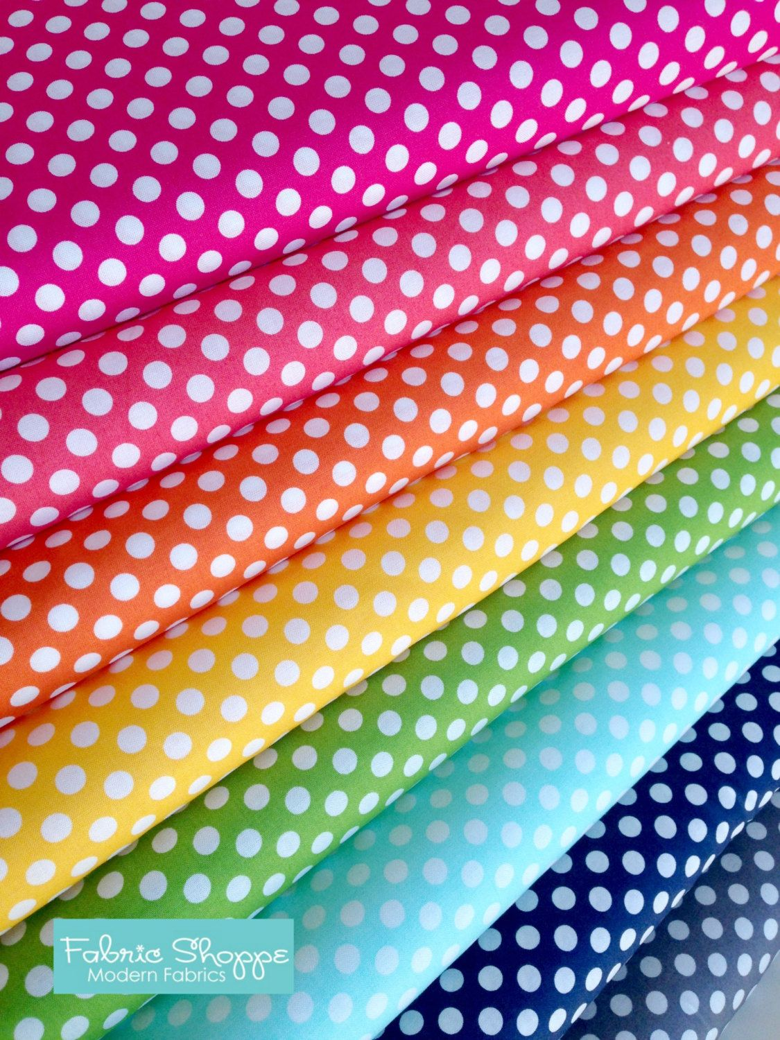 Best Seller, Rainbow Polka Dot Fabric, Cotton Fabric by ...