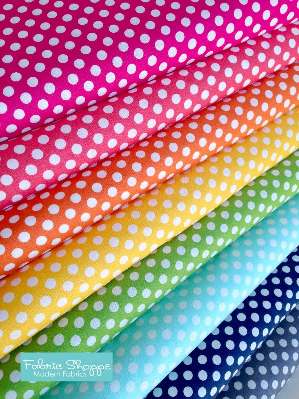Best Seller, Rainbow Polka Dot Fabric, Cotton Fabric by the Yard ... : polka dot quilt fabric - Adamdwight.com