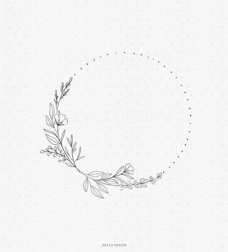 Floral And Botanical Logos Collection: Wild Flower Wreath Illustration Clipart
