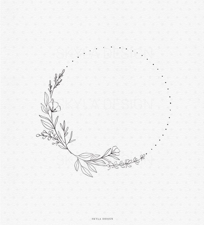 Wild flower wreath illustration clipart