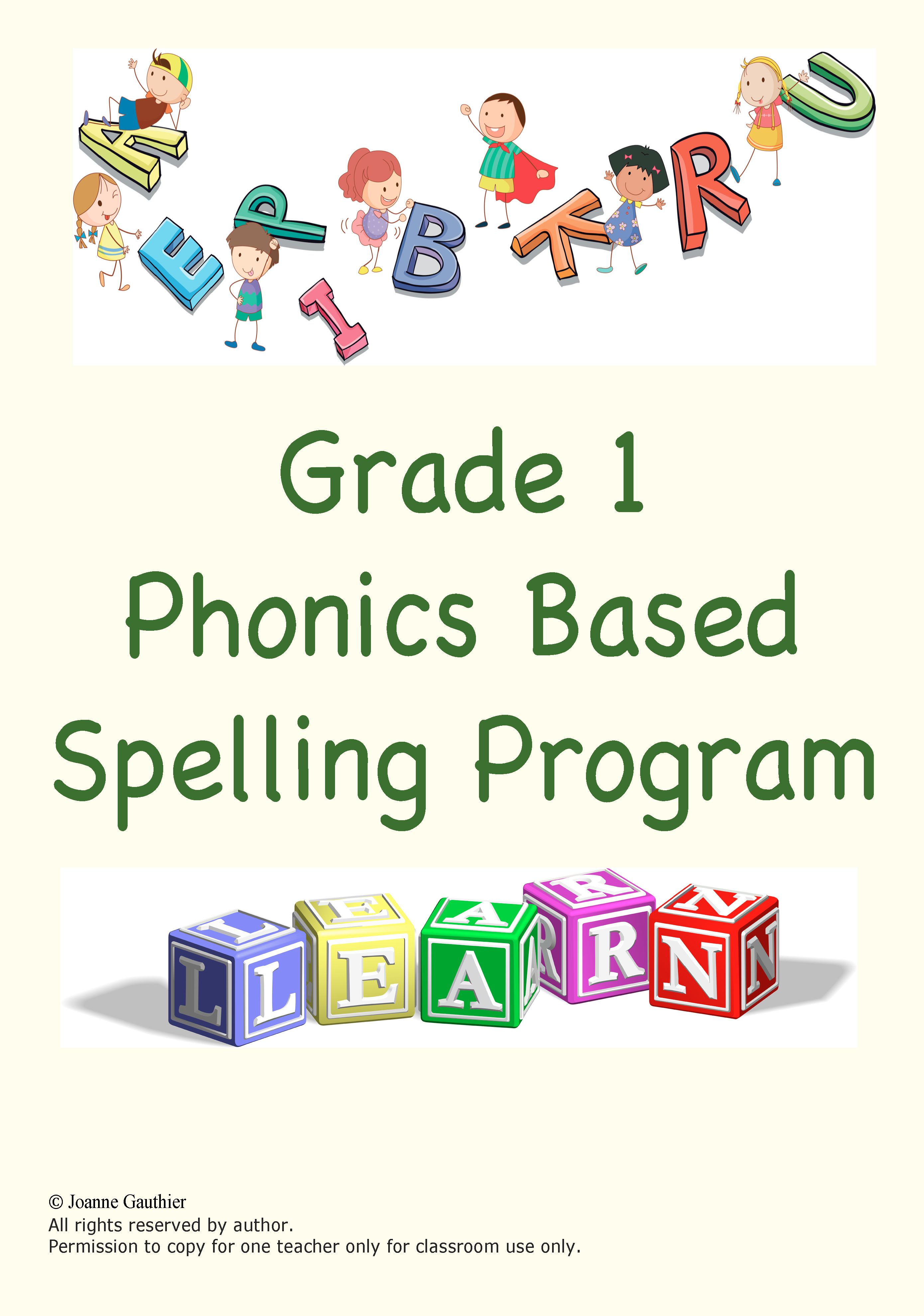 Grade 1 Spelling Program Phonics Based Distance Learning