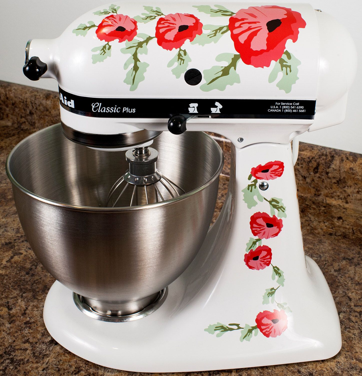Red Poppy Flowers Watercolor Kitchenaid Mixer Mixing Machine Decal