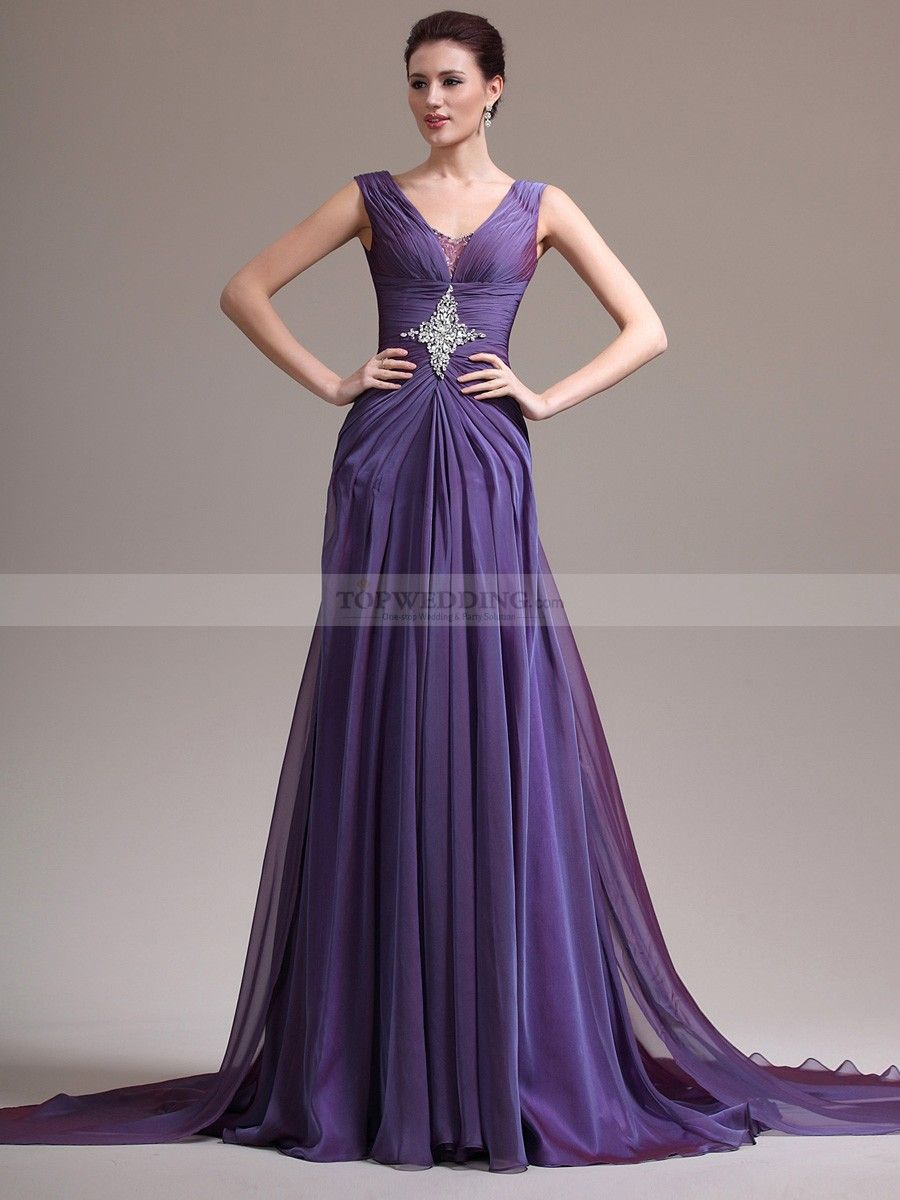 V Neck Pleated Chiffon A Line Evening Dress with Sheer Back Design ...