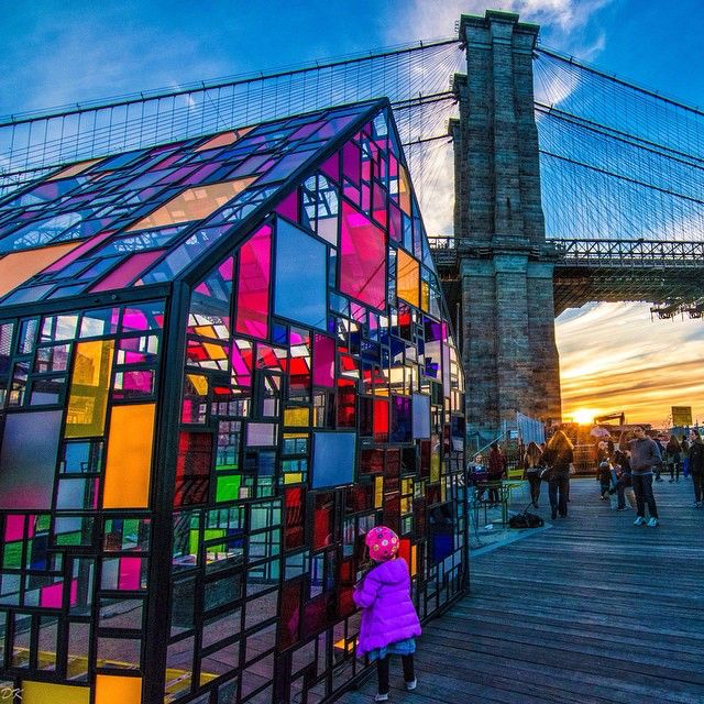 Spellbound | Stained glass house installation, Brooklyn Bridge Park