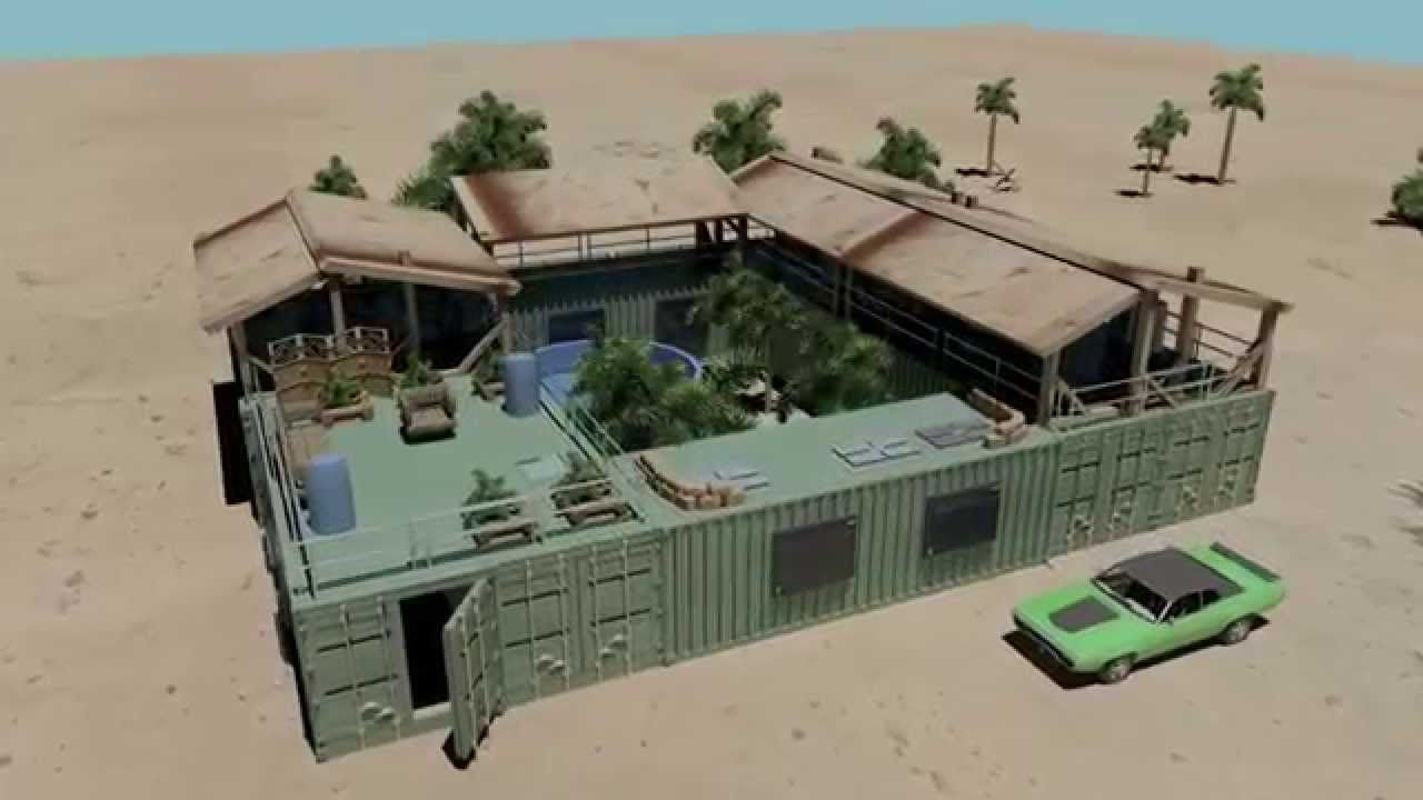 Mini Compound Shipping Container House Pool Youtube Shipping