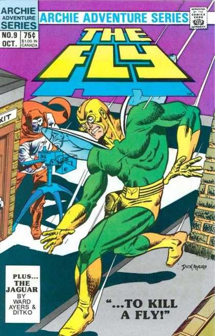 The Fly Comic Book Cover The Jaguar - Roof - Archie Adventure Series - Ward Ayers - Ditko - Dick Ayers
