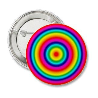 Psychedelic Round Rainbow Pattern Button Badge