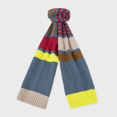 Paul Smith Women's Scarves   Sky Blue Colour Block Stripe Lamsbwool Scarf