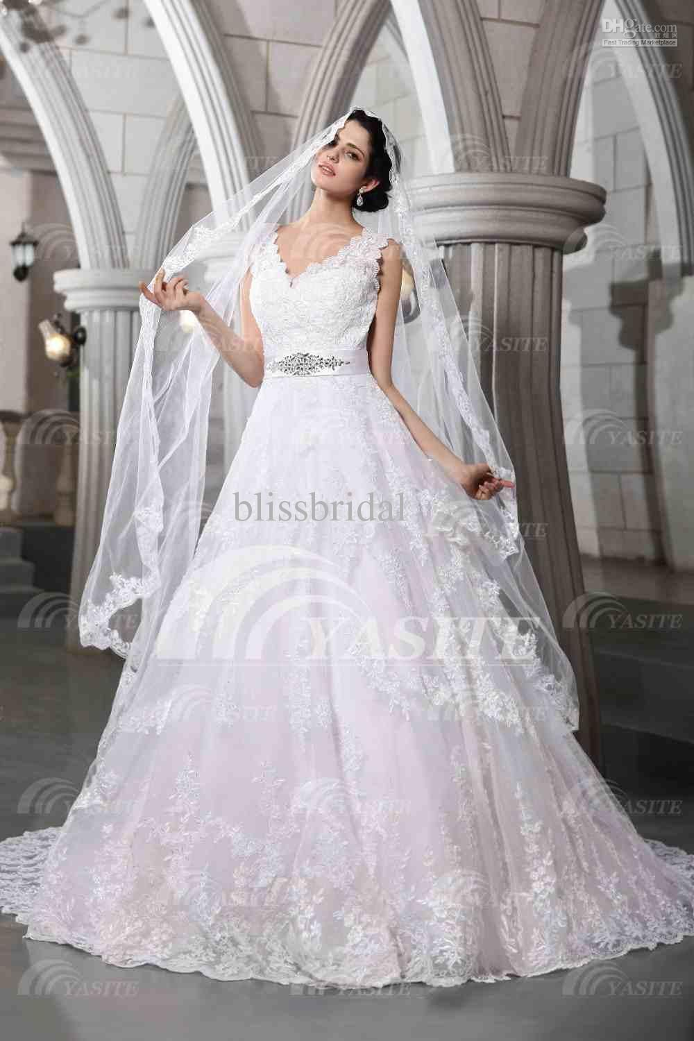 Luxurious v neck wedding dresses lace chapel train with a veil wholesale luxurious v neck wedding dresses lace chapel train with a veil brooch ball gown ombrellifo Choice Image
