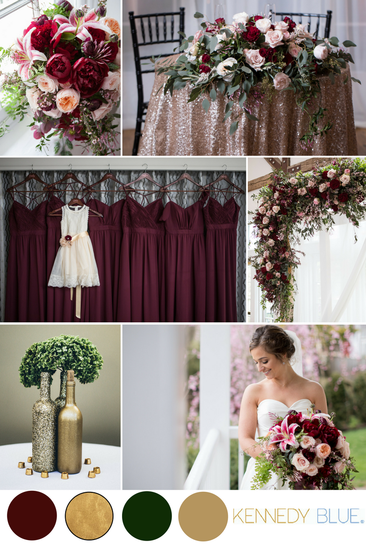 Wedding decor maroon and gold  A stunning bordeaux wedding featuring Kennedy Blue bridesmaid
