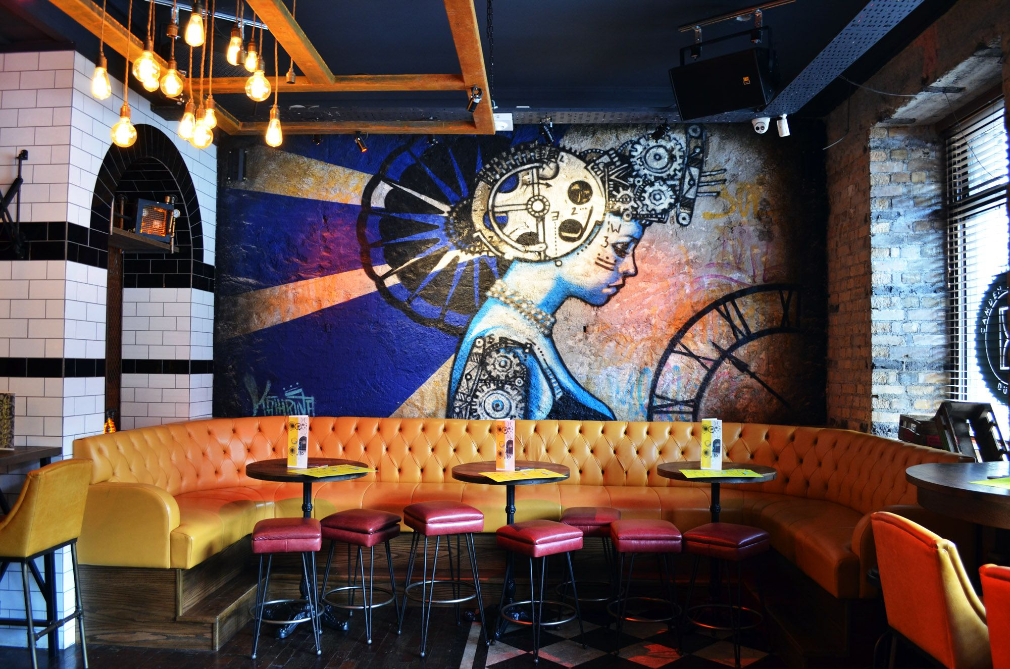 Lestrange designs the camden exchange bar design restaurant design interior graffiti mural dublin