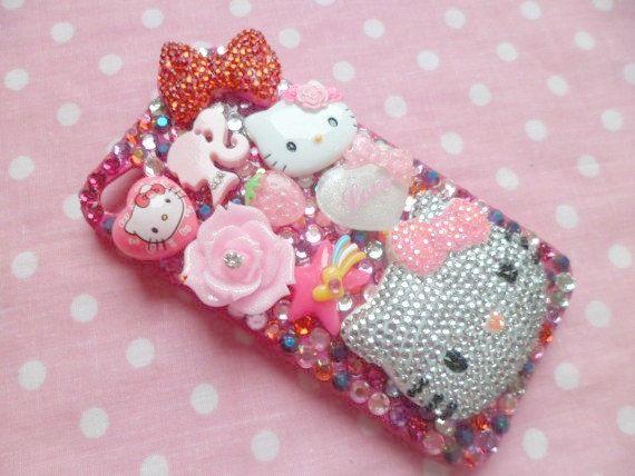 Bling Rhinestone Hello Kitty Head Kawaii iPhone 4