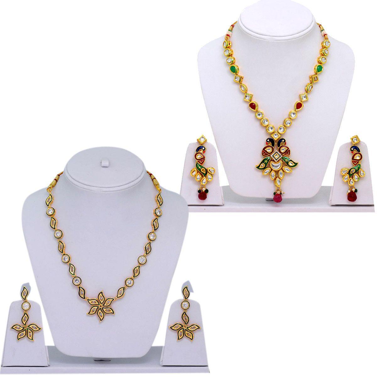 Ethnic wedding collection combo of handmade kundan necklace set