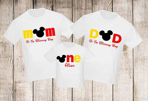 Disney Family Shirts Disney Mickey Mouse Birthday Party Outfits For Mom Dad And B Mickey 1st Birthdays Mickey Mouse First Birthday Mickey Mouse Birthday Shirt