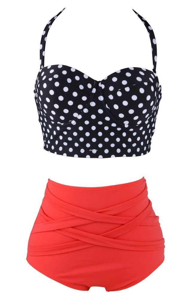 811bee60255 RETRO Pinup Bow Tie Bandeau Vintage High Waist Bikini Swimsuit ...