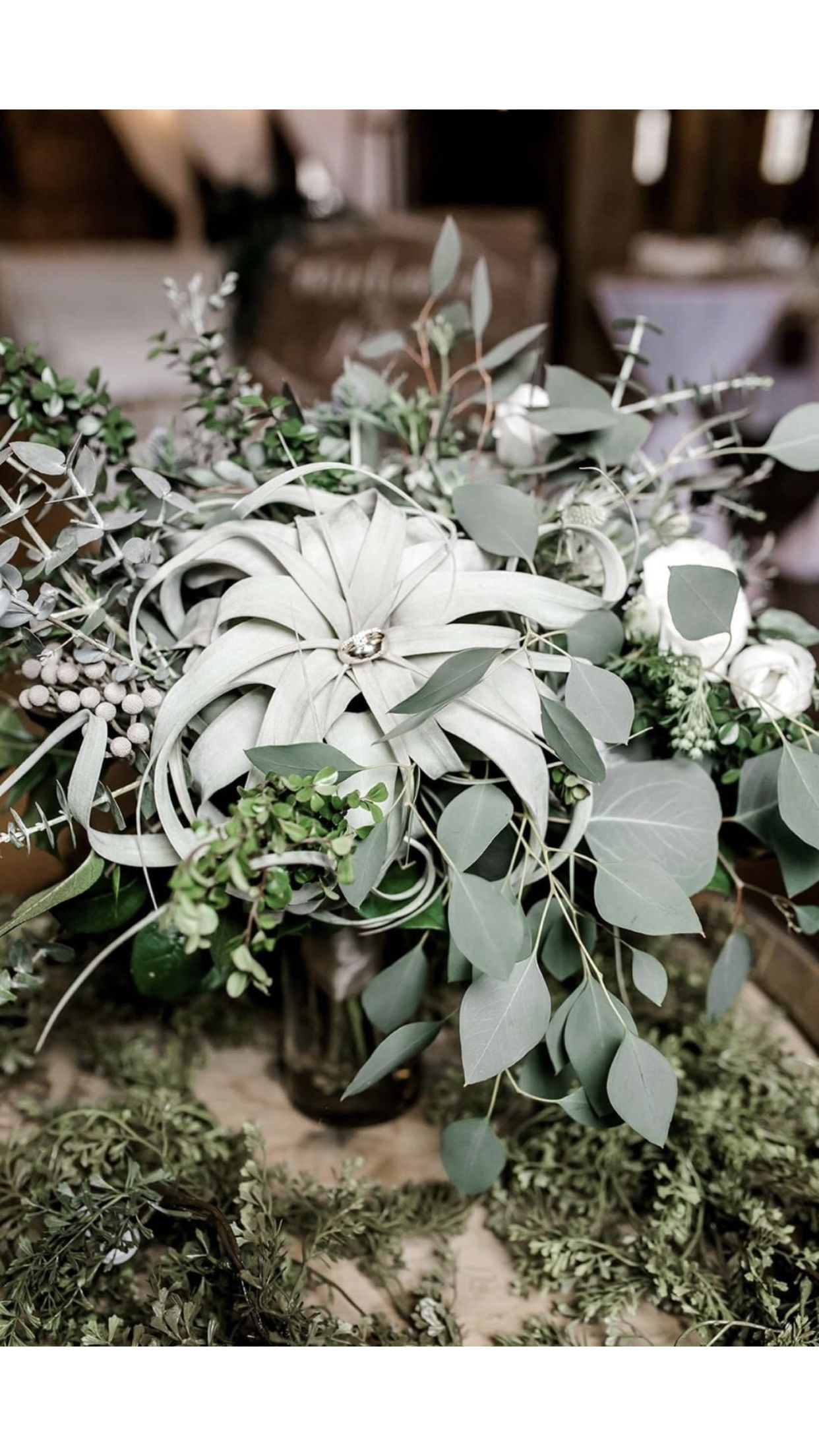 Wedding bouquet of succulents, airplants and greenery