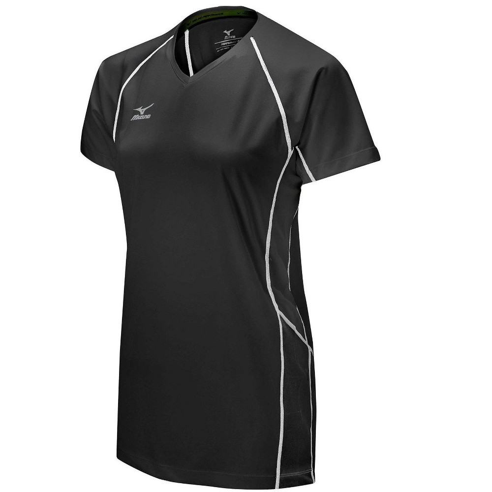 Mizuno Womens Volleyball Apparel Elite 9 Classic Newport Short Sleeve Jersey 440556 Size Large Black 9090 Volleyball Outfits Volleyball Jerseys Women Volleyball