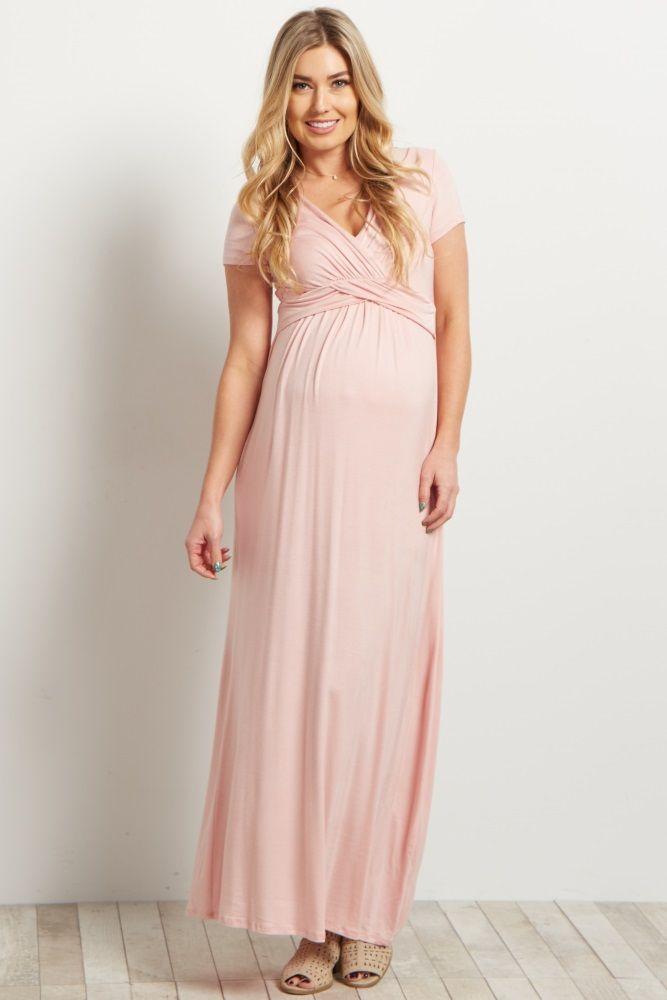 073e7bbd80f5e Pink Draped Maternity/Nursing Maxi Dress | Laura James | Maternity ...