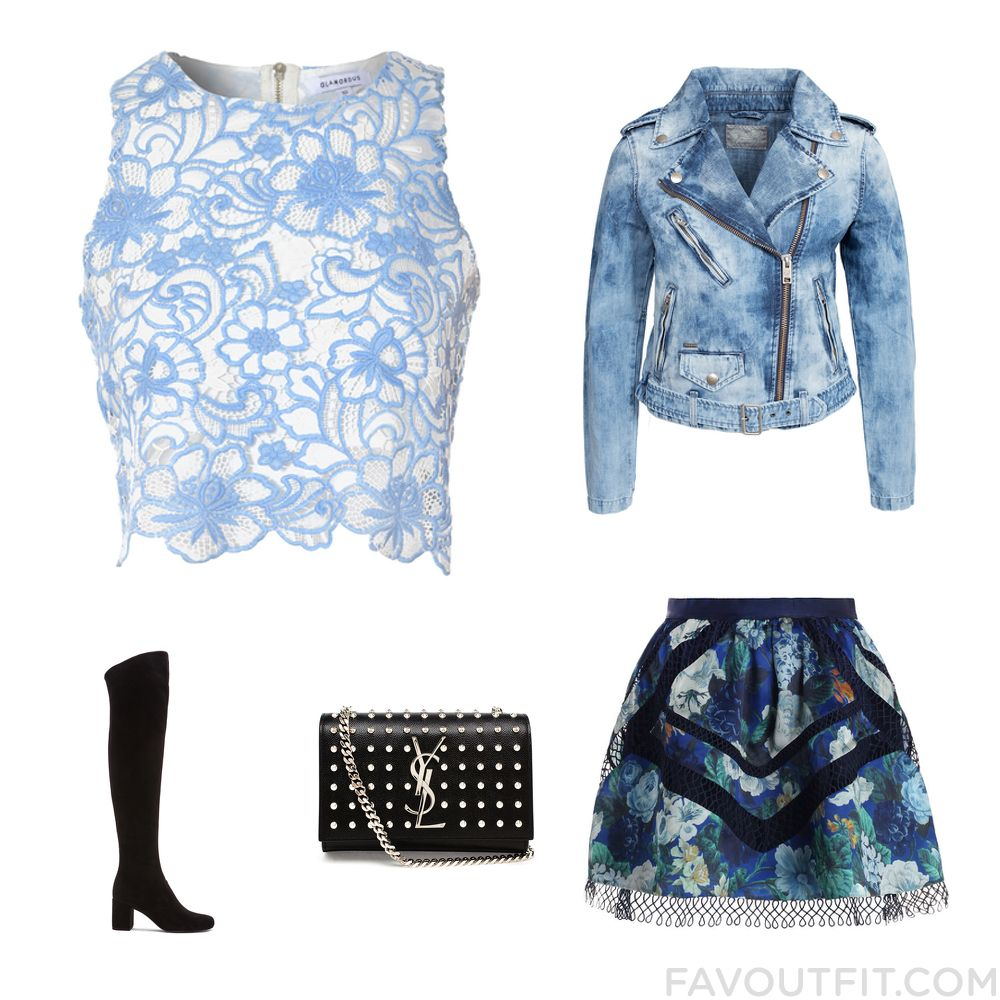 Wardrobe Trick Featuring True Decadence Top Denim Jacket Zimmermann Mini Skirt And Thigh High Boots From August 2015 #outfit #look