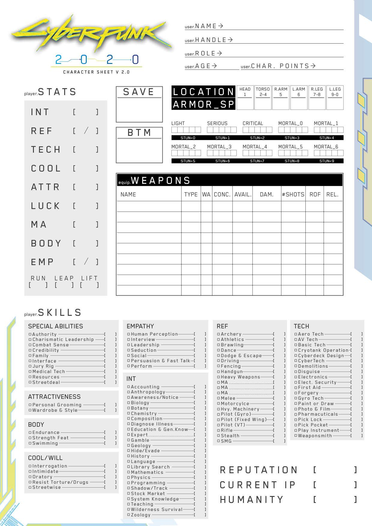 Cyberpunk 2020 Character Sheet v2.0 (Fan Made) (With ...