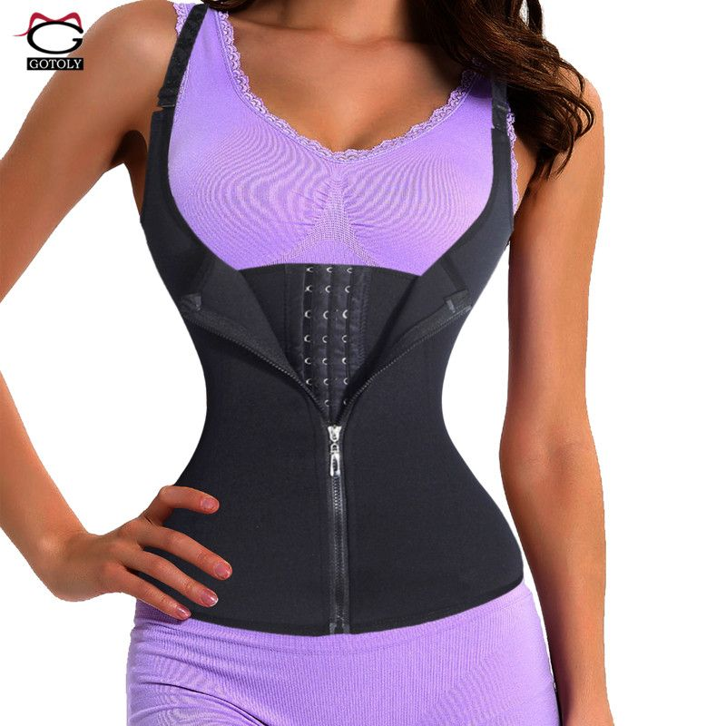 4fe3a2a3acf69 Adjustable Shoulder Strap Waist Trainer Vest Corset Women Zipper Hook Body  Shaper Waist Cincher Tummy Control