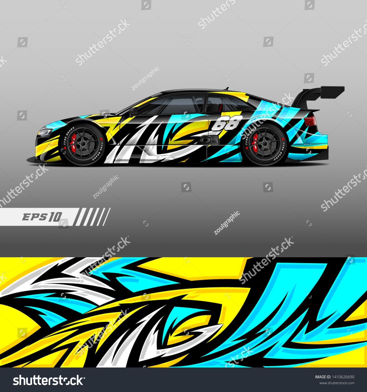 Racing car livery design  Graphic abstract stripe racing
