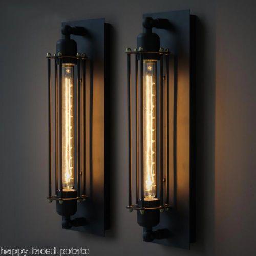 Vintage Industrial Pencil Cage Loft Sconce Edison Wall Light Bulb