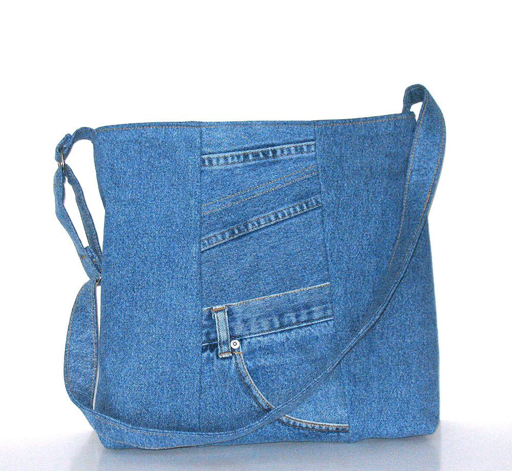 School zipper bag - Items Similar To Recycled Jeans Tote Purse Cross Body Bag School Messenger Shoulder Bag With Top Zipper On Etsy