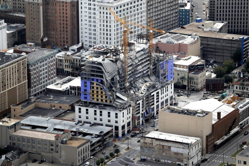 Construction Equipment 1 Dead 2 Missing After Hotel Under Construction Partially Collapses In New Orleans Los Angeles Time New Orleans Hotels Hotel Cnn News