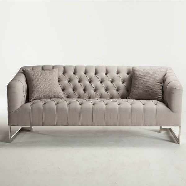 Beautiful Austin Modern Tufted Sofa Grey Zin Home (2,735 CAD) ❤ Liked On Polyvore  Featuring Home, Furniture, Sofas, Grey Tufted Sofa, Modern Furniture, Grey  Couch, ...
