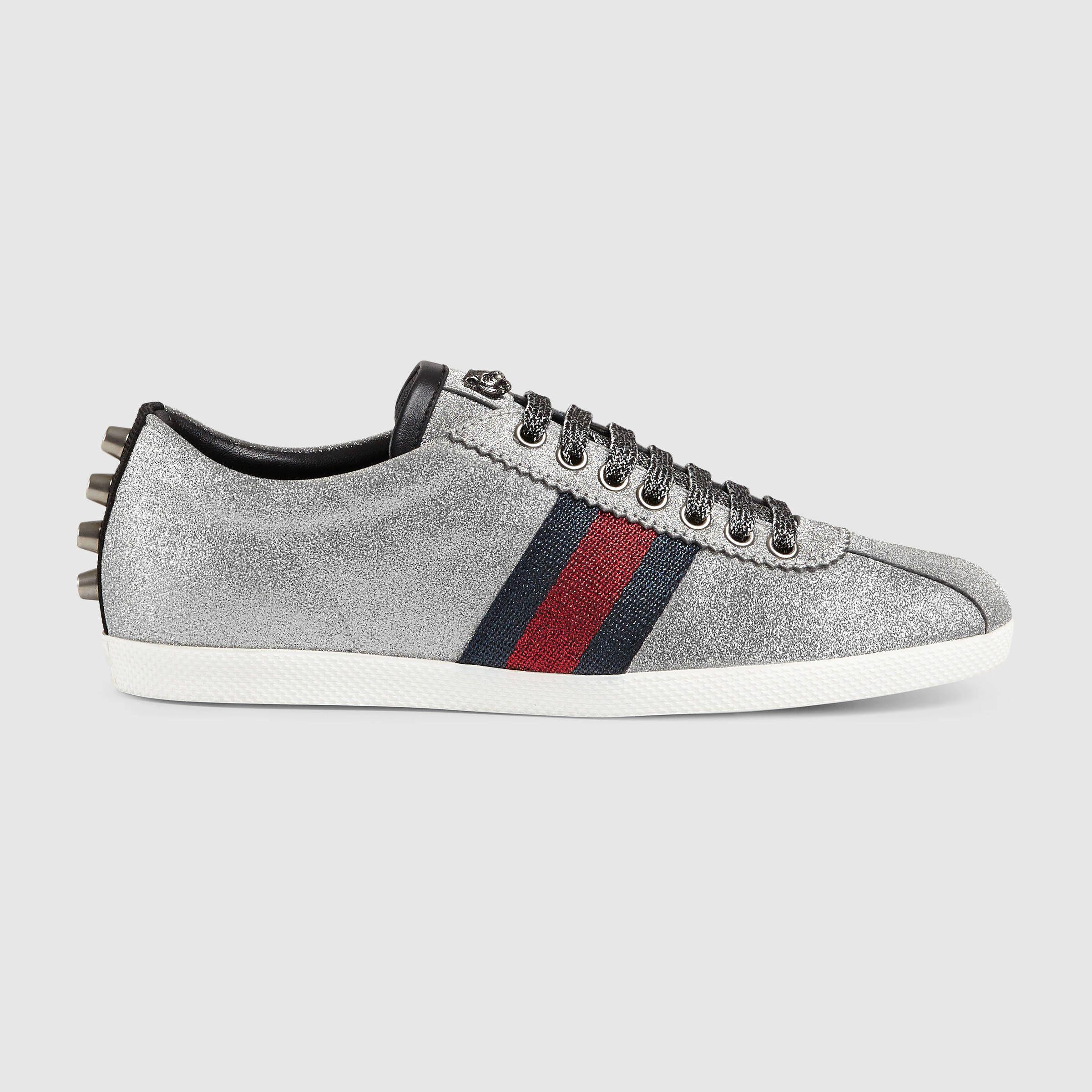 Sneaker Mit Glitzer Nieten Und Webdetail Lederschuhe Damen Turnschuhe Damen Rote Glitzer Schuhe