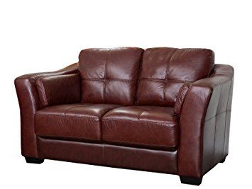 Attirant Abbyson Living Crimson Italian Leather Loveseat, Burgundy Review